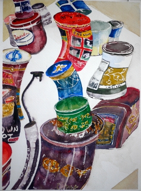 Tin Cans watercolor